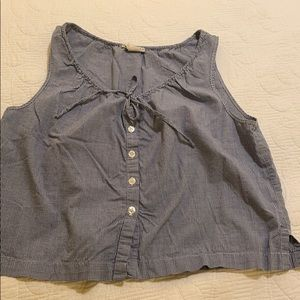 Cotton sleeveless blouse blue and white check